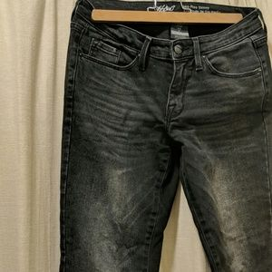 Mossimo Supply Co. Jeans - Black skinny stretch denim with frayed ends